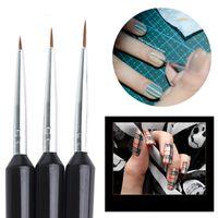 sanat hattı boyama toptan satış-3 adet / takım Nail Art Çizgileri Boyama Kalem Fırçalar Profesyonel UV Jel Lehçe İpuçları 3D Tasarım Manikür Çizim Aracı Kiti