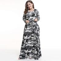 толстый размер платья оптовых-Европа и Соединенные Штаты большие размер осень и зима женщин носить жира мм юбка 2018 новый камуфляж платье длинная юбка