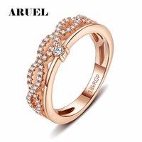 Wholesale Romance Jewelry - whole saleARUEL Fashion rings for women Cross Cubic Zirconia Ring Trendy rose gold silver charm Girls Party romance wedding bride jewelry