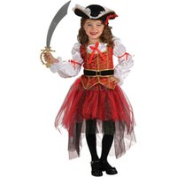 Wholesale girl pirate cosplay online - Kids Girls cosplay costume halloween pirate dress costume with hat children s day role play stage show dress HC22