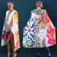 Wholesale ladies beige blazers - Brand New 2016 Women Long Blazer Jackets Fashion Split Printed Casual Blazer Ladies Cape Suit Thin Women Coat Femininas Outwear