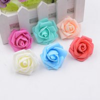 Wholesale white craft foam - 200pcs 4cm Foam Rose Artificial Flowers For Wedding Home Decoration Mariage Flores Rosa Scrapbooking Craft Flowers