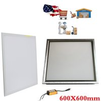 Wholesale Led 48w - 600X600mm led panel Lights Silver White frame 48W 2ft X 2ft led light Panel Lamp AC 110-240V + Waterproof Drivers + Stock In USA