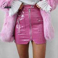 Wholesale front mini skirt - Women Faux Leather Pencil Skirts Pink Button Front Zipper Mini High Waist Skirt Female Autumn Winter Fashion Sexy Party Skirts