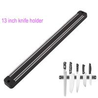 13 inç bıçaklar toptan satış-Yüksek Kalite 13 inç Manyetik Bıçak Tutucu Duvar Montaj Siyah ABS Plastik Blok Mıknatıs Bıçak Tutucu metal Bıçak