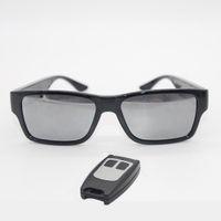 dv câmera remota venda por atacado-GANSS Vídeo Óculos Controle Remoto Mini Câmera Óculos De Sol 1080 P HD Sem Furo Cam Camcorder DV DVR Gravador Embutido Cartão De Armazenamento 16 GB