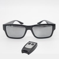 ingrosso occhiali da sole mini-GANSS Video Eyewear Telecomando Mini fotocamera Occhiali da sole 1080P HD No Hole Cam Camcorder DV DVR Recorder Scheda di memoria integrata 16 GB