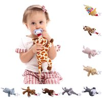 Wholesale Boys Plush Toys - Baby Boy Girl Dummy Pacifier Chain Clip Plush Wild Animal Toys Soother Nipples Holder (not include Pacifier)
