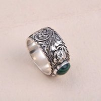Wholesale pure silver wedding rings - S925 pure silver ring with nature malachite and leopard head design for women and man wedding jewelry gift PS5522