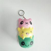 Wholesale keychain cat - Jumbo 14cm Kawaii Face Kitty  Panda Bear Squishy Cat String Soft Slow Rising Phone Strap Keychain Squeeze Bread Kid Toys