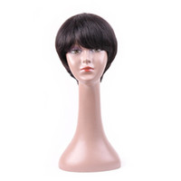 Wholesale short human hair wigs for sale - Human Hair Pixie Cut Wigs Brazilian Short Human Hair Wigs With Bangs Non Remy Natural Wave For Women