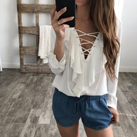 Wholesale Women Lace Ruffle Blouses - Celmia 2018 Fashion Women Chiffon Blouse Sexy Lace Up V Neck Ruffles Long Sleeve Black White Tops Shirts Plus Size Casual Blusas
