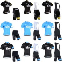 Wholesale Sky Cycling Jersey Bib Shorts - 2018 Brand Team SKY Cycling Clothing For Men breathable Short Sleeve Cycling Jersey bike Bib  Shorts sets ropa ciclismo hombre C2405