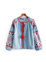 ingrosso le camicette casuali della camicetta delle signore-le donne ricoprono le camice eleganti casuali della signora della camicetta delle donne di disegno del ricamo del colletto rotondo del collare