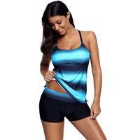 Wholesale tankini swimsuits shorts - Sexy Tankini Swimwear for Women Bathing Swimsuits Suit Tops Shorts Two Piece Striped Swim Beachwear S-XXL