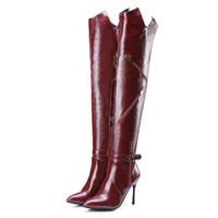 ingrosso stivali rossi dell'alto tallone del tallone-Size33-43 Donna Inverno PU Zip in pelle stivali sopra il ginocchio Lady Fashion Dress Shoes Donna 9.5CM Tacchi alti Scarpe Nero Vino Rosso