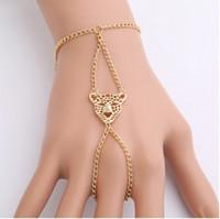 Wholesale head harness ring - Vintage Harness Hand Chain Leopard Head Bangle Slave Chain Gold Tone Hand Bracelets Finger Ring Bracelets