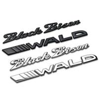 auto-logo 3d emblem abzeichen briefe großhandel-Schwarz Bison WALD Separate Letters Chrom Metall Zink Auto Styling Umrüstung Emblem Stamm Abzeichen Logo 3D Aufkleber für BMW Benz Bison