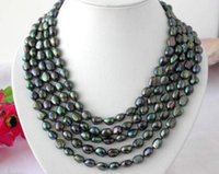 """Wholesale long cultured pearl necklaces - Long 100"""" 8-9mm baroque black Cultured Irregular pearl NECKLACE"""