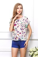 Wholesale cheap printed blouses - Female summer Cheap Chiffon Blouses Tops large size short sleeve Printed T-shirt for women Batwing Loose Tees shirts