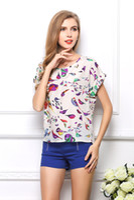 batwing gevşek bluz kısa toptan satış-Kadın yaz Ucuz Şifon Bluzlar Tops büyük boy kısa kollu Baskılı T-shirt kadınlar için Batwing Gevşek Tees gömlek