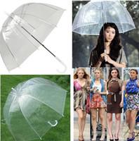 ingrosso chiaro fungo trasparente-Fashion Deep Dome Ombrello Trasparente Ombrello Ragazza Fungo Ombrello Trasparente Ombrelli Trasparenti Vendita Calda T2I419