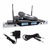 canais transmissores venda por atacado-Onleny EU-7600 Sistema de Microfone Sem Fio Profissional UHF Dual Channel 2 Handheld Mic Transmissor Handheld Microfone De Karaokê
