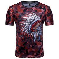 indische kleidung freies verschiffen großhandel-Männer Kleidung African Indian Schädel Print T-shirts Nationalen Wind Kurzarm Shirts Für Männer Rundhalsausschnitt Neue Marken 3d Mens Shirt Freies Verschiffen