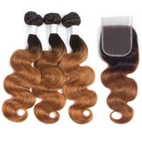 sarışın brazilian dalga saç paketleri toptan satış-Ombre Brezilyalı Vücut Dalga İnsan Saç Demetleri Ile 4X4 Dantel Kapatma 1B / 30 Sarışın Brezilyalı İnsan Saç Dokuma 3 Demetleri Ile Kapatma HCDIVA