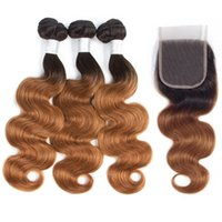paquetes de cabello humano rubio al por mayor-Ombre Paquetes de cabello humano de onda corporal brasileña con cierre de encaje 4X4 1B / 30 Armadura de cabello humano brasileño rubio 3 paquetes con cierre HCDIVA