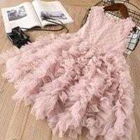 Wholesale short straight dress design - INS Girl clothes Princess Dress flower hollow out lace Design Summer sleeveless tutu Dress Kids Elegant Dress