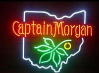 captain morgan neon barra de luz venda por atacado-Personalizado Novo CAPITÃO MORGAN Cerveja Sinal De Néon De Vidro Real Beer Bar Bar Sinal Enviar necessidade foto 19x15