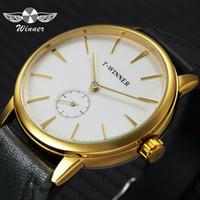 relojes de pulsera de línea secundaria al por mayor-GANADOR clásico reloj de los hombres de negocios mecánica correa de cuero sub-dial de oro para hombre de la moda pulsera de reloj Top