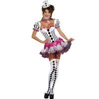 face54a41 Europeus e Americanos Halloween Sexy palhaços de circo Vestido Senhora  jogar papel uniforme jogar Principal composição da tela de fibra de  poliéster