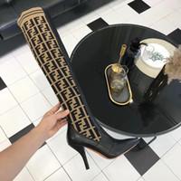ingrosso calze gialle al ginocchio-Top Designer Donna Moda di lusso Stivali Stivali tripli in pelle gialla Stivali al ginocchio da donna con alto calzino scarpe casual con scatola