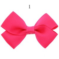 Wholesale hair clips little girl ribbon - 12pcs New Ribbon Bow clip Girl little hair top clips Dot solid Printed Bow Hairpin for Baby Children accessories for hair gift HC060-1