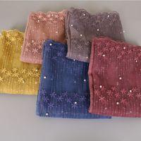 bufanda de perlas musulmanes al por mayor-Laven Lace Pañuelo Lacework Perlas Bandhnu Pashmina Moda Tie-dye Bufanda Algodón Bandana Musulmán Hijab Poncho Wrap Head Beads Shawl