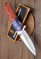 ahşap saplı av bıçakları toptan satış-Toptancı Browning DA138 yüksek kalite ahşap kolu katlanır bıçak Kamp Avcılık Survival Bıçak Toka EDC Araçları Açık katlama hediye bıçak