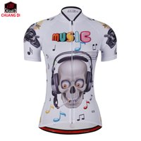 Wholesale Uv Clothing Women - Music skeleton Athletics personality women's Cycling Jerseys Bicycle Short Sleeve cycling clothing free shipping Tops