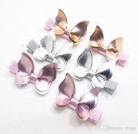 Wholesale kids clipper - fashion baby girl glitter PU butterfly Barrettes Stereo Design girl Clipper Beautiful Girl Kids Hair Accessories free ship