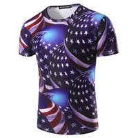 Wholesale Silver Star Tees - Men's 3D Stars Flag Printed T shirts Men Summer Stylished Design Crew Neck Short Sleeved Tops Tees