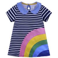 Wholesale American Kids Monkey - European Girl Dresses 2018 Summer Rainbow Striped Baby Girl dress Applique Animal Monkey Birds Little Middle Kids clothing Cotton 18M to 6Y