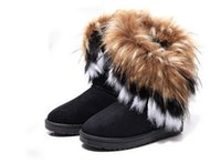 Wholesale Fox Fur Boots - Fashion Fox Fur Warm Autumn Winter Wedges Snow Women Boots Shoes GenuineI Mitation Lady Short Boots Casual Long Snow Shoes size 36-40