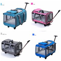 Wholesale smallest car toy online - Portable Pet Trolley Travel Box Dog Out Bags Cat Puppy Remove Backpack Detachable Four Wheels Trolley Backpack Car Bag MMA1087
