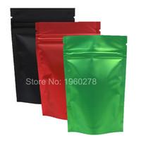 Wholesale mylar fabric resale online - 100pcs x13cm x5 quot Recyclable Green Red Black Translucent Ziplock Storage Bags Metallic Mylar Zip Lock Stand Up Bag
