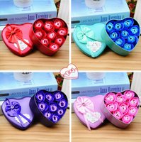 Wholesale Metal Flower Boxes - 3 Sizes Heart Shape Metal Box Handmade Rose Simulation Soap Rose Flower Romantic Soap Flower Valentines Day Birthday Party Gifts