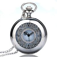 relógios de prata antigos venda por atacado-Prata Meio Caçador Flores Oco Números Mostrador Dial Retro Fob Quartz Relógio de Bolso Das Mulheres Dos Homens Relógios Antigos Reloj de bolsillo