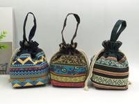 bolsa venda por atacado-Bonito mini corda saco senhora pano arte zero bolsa mão levar saco cosmético.