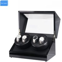Wholesale watch winder storage box - Automatic Watch Winder Box, Black Wood Paint Rotate 4 Watch Winder Storage Display Case Global Adapter Motor Case WBG1153