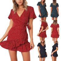 elbiseler devletleri toptan satış-Kadın patlama modelleri Avrupa ve Amerika Birleşik Devletleri yeni V Yaka kısa kollu pileli dantel baskı elbise